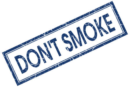 dont smoke blue square stamp isolated on white background photo