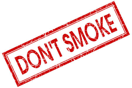 dont smoke red square stamp isolated on white background photo