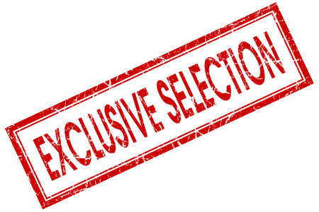 sexual selection: exclusive selection red square stamp isolated on white background
