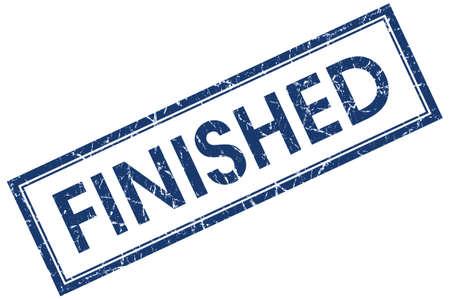 finished: finished blue square stamp isolated on white background Stock Photo
