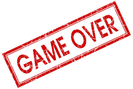 game over red square stamp isolated on white background photo