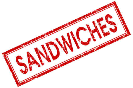 deli meat: sandwiches red square stamp isolated on white background