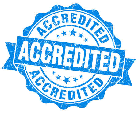 accredited: accredited blue vintage isolated seal