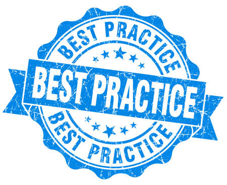best practice: best practice blue vintage isolated seal