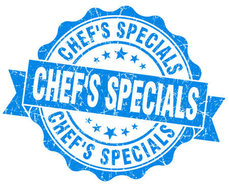 specials: chefs specials blue grunge seal isolated on white