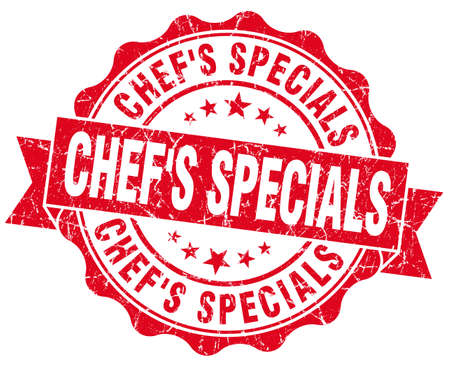 specials: chefs specials red grunge seal isolated on white Stock Photo