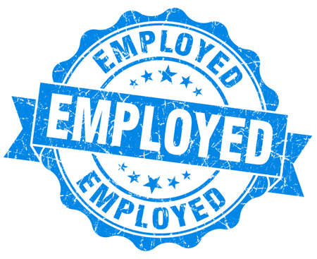 empleadas: empleado sello azul del grunge aislado en blanco