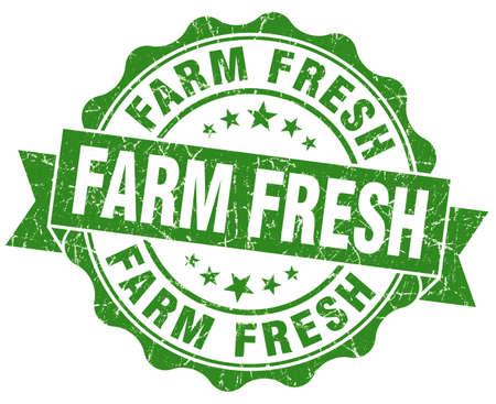 farm fresh: fattoria fresco sigillo grunge isolato su bianco