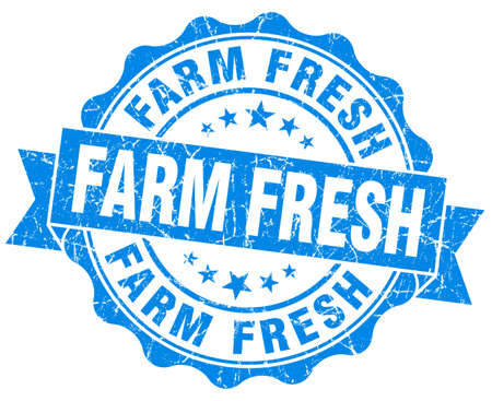 farm fresh: fattoria fresco sigillo blu grunge isolato su bianco