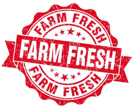 farm fresh: fattoria fresco sigillo rosso grunge isolato su bianco Archivio Fotografico