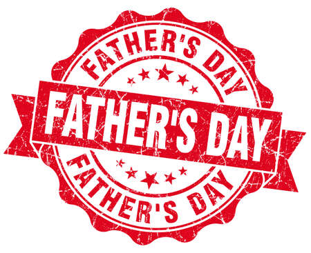 fathers day red grunge seal isolated on white Stock Photo