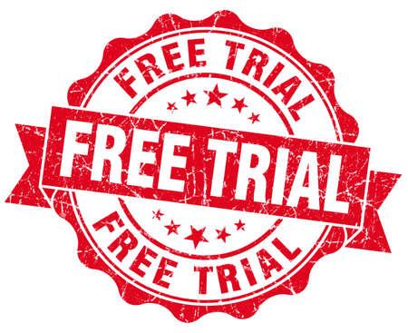 gratis trial rode grunge zegel geïsoleerd op wit