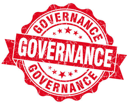 governance: governance red grunge seal isolated on white