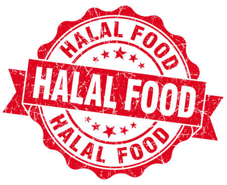 halal food red grunge seal isolated on white photo