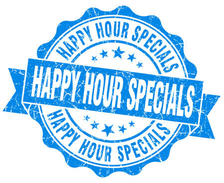 specials: happy hour specials blue grunge seal isolated on white