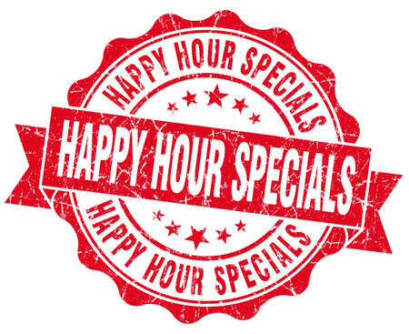 specials: happy hour specials red grunge seal isolated on white Stock Photo
