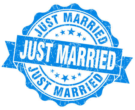 just married blue grunge seal isolated on white photo