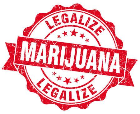 legalize: legalize marijuana red grunge seal isolated on white Stock Photo