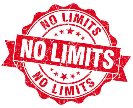 no limits: no limits red grunge seal isolated on white Stock Photo