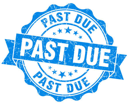 past due: past due blue grunge seal isolated on white