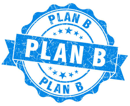plan b: plan b blue grunge seal isolated on white