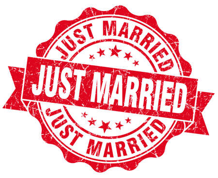just married red grunge seal isolated on white photo