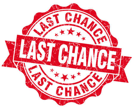 chance: last chance red grunge seal isolated on white Stock Photo