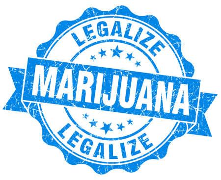 legalize: legalize marijuana blue grunge seal isolated on white