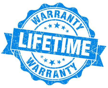 lifetime: lifetime warranty blue grunge seal isolated on white