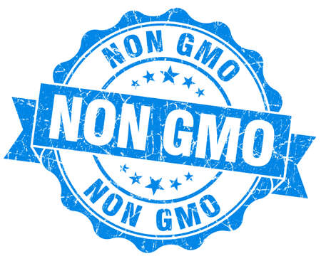 genetically modified organisms: non gmo blue grunge seal isolated on white