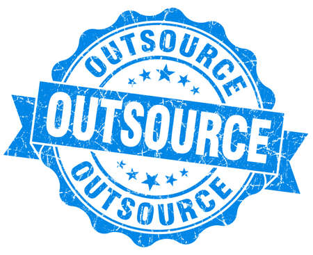 outsource: outsource blue grunge seal isolated on white Stock Photo