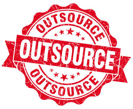 outsource: outsource red grunge seal isolated on white Stock Photo