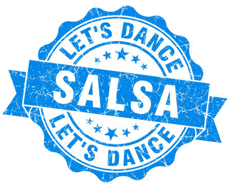 salsa dance: salsa dance blue grunge seal isolated on white