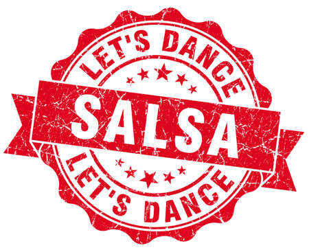 lets: salsa dance red grunge seal isolated on white Stock Photo