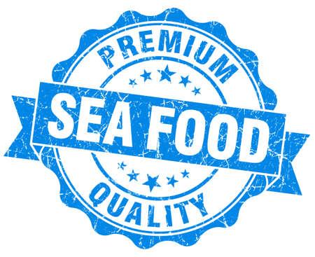 sea food: sea food blue grunge seal isolated on white