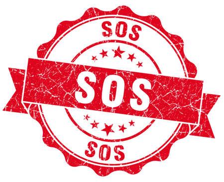 sos red grunge seal isolated on white
