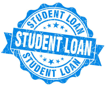 student loan: student loan blue grunge seal isolated on white Stock Photo