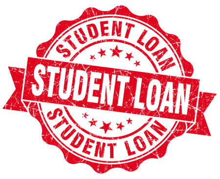 student loan: student loan red grunge seal isolated on white Stock Photo