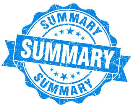 summary: summary blue grunge seal isolated on white