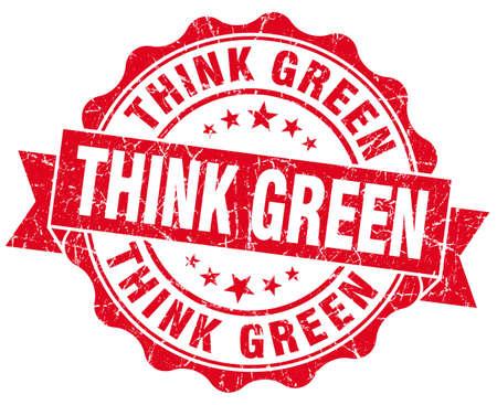 think green: piense sello rojo del grunge verde aislado en blanco Foto de archivo