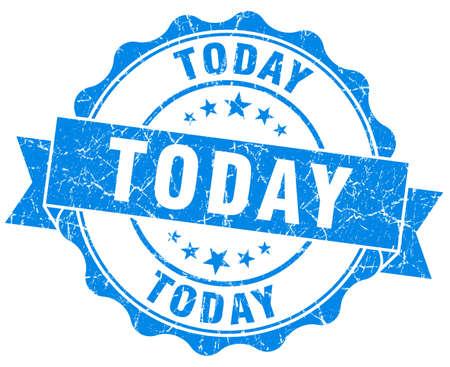 Hoy el sello azul del grunge aislado en blanco Foto de archivo - 35928950