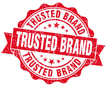 trusted: trusted brand red grunge seal isolated on white