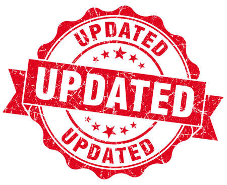 updated: actualizado sello grunge rojo aislado en blanco