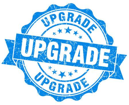 upgrade: upgrade blue grunge seal isolated on white