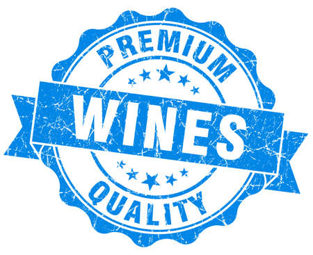 wines: wines blue grunge seal isolated on white Stock Photo