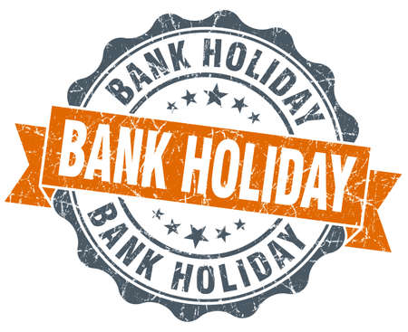 bank: bank holiday orange vintage seal isolated on white
