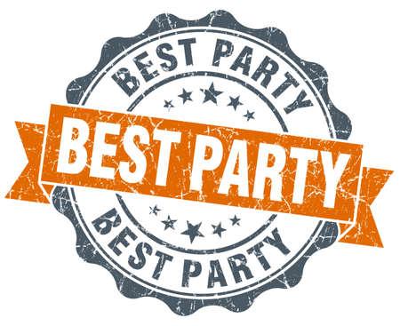best party: migliore tenuta annata partito arancione isolato su bianco Archivio Fotografico