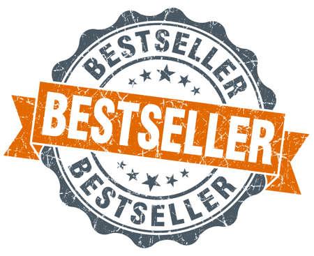 bestseller: bestseller orange vintage seal isolated on white