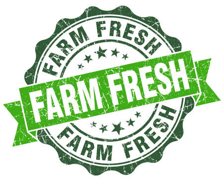 farm fresh: farm fresh green vintage seal isolated on white
