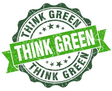 think green: piense sello vendimia verde verde aislado en blanco